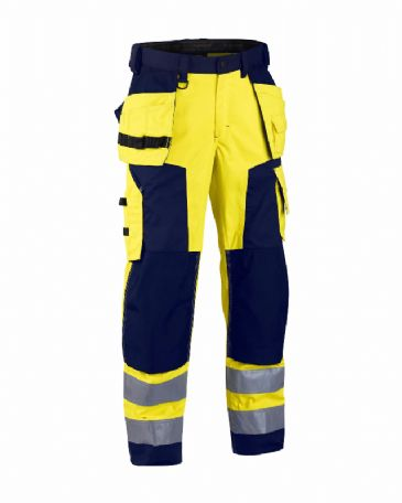 Blaklader 1568 High Visibility Craftsman Trousers (Yellow/Navy Blue)